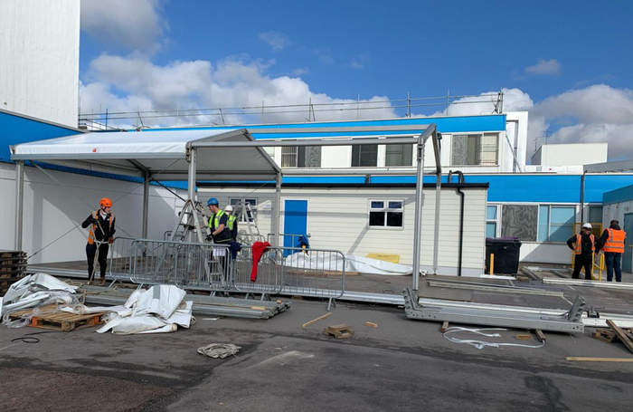 People Powered volunteers build additional patient screening units at Stoke Mandeville Hospital