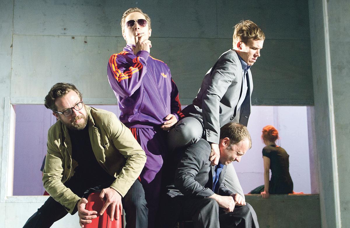Ferdy Roberts, Lasse Myhr, Nicolas Tennant and Sergo Vares in Three Kingdoms at the Lyric Hammersmith. Photo: Tristram Kenton