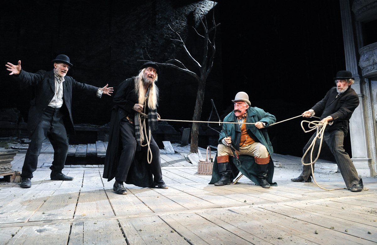 Patrick Stewart, Ronald Pickup, Simon Callow and Ian McKellen in Waiting for Godot at Theatre Royal