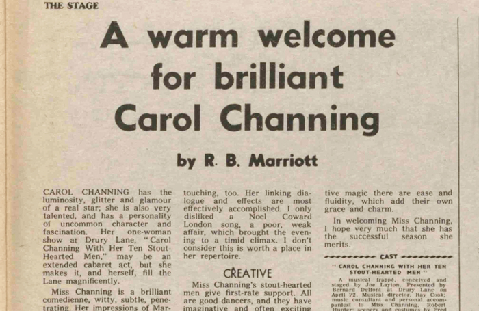 Carol Channing review in The Stage, April 30, 1970