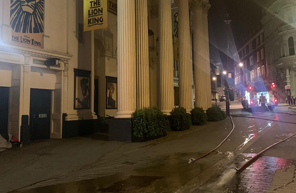 Firefighters attending the flood at the Lyceum Theatre in the West End. Photo: London Fire Brigade