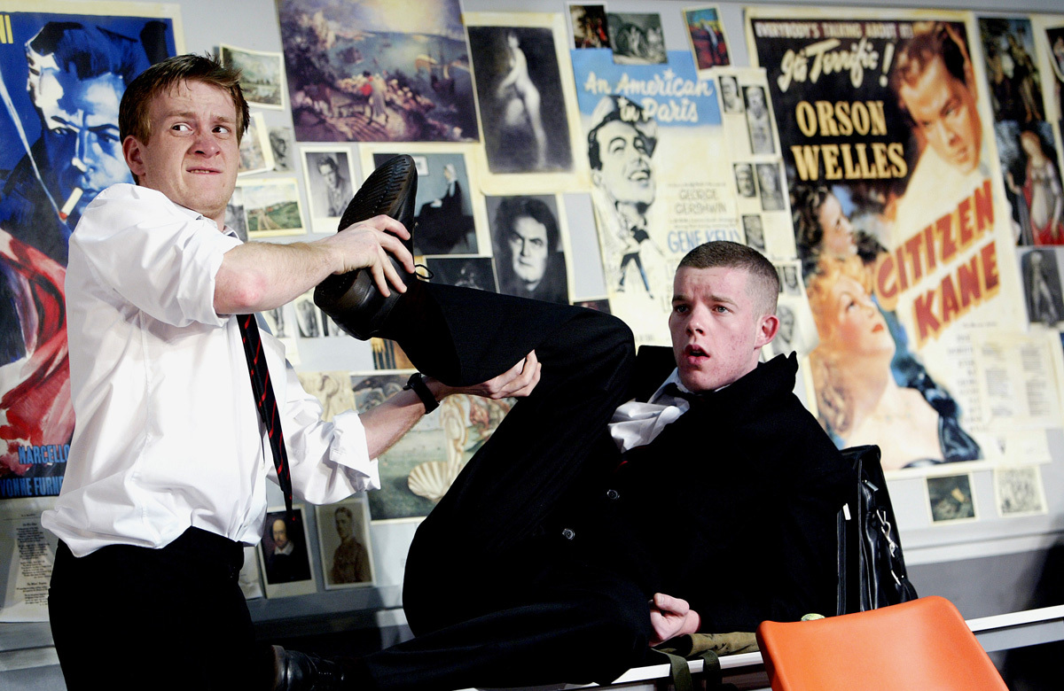 Jamie Parker and Russell Tovey in The History Boys, which opened at the National Theatre on May 18, 2004