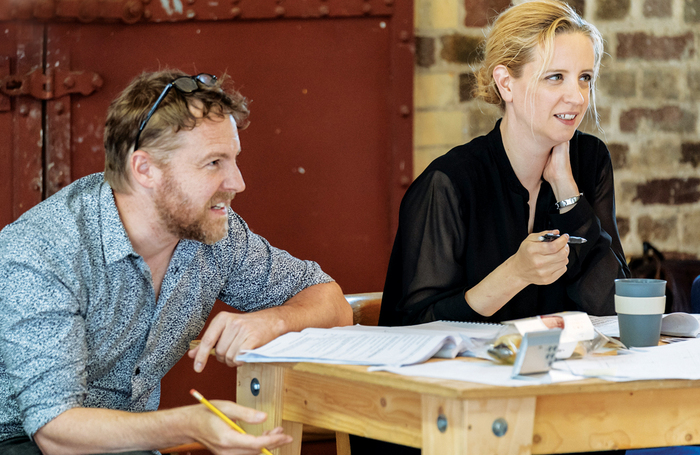 Samuel West with Laura Wade in rehearsals. Photo: Manuel Harlan