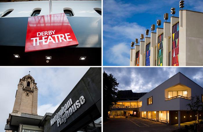 Clockwise from top left: Derby Theatre, Leeds Playhouse, Salisbury Playhouse, Nottingham Playhouse. Photos: Chris Seddon, Heather Whiston, Chris Zuidyk, Shutterstock