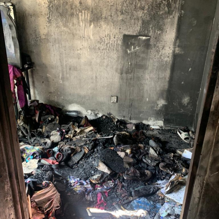 Most of the flat's contents were destroyed in the blaze
