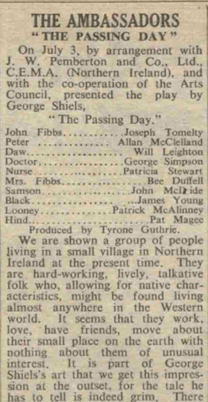 The West End production of The Passing Day was reviewed in The Stage on July 5, 1951