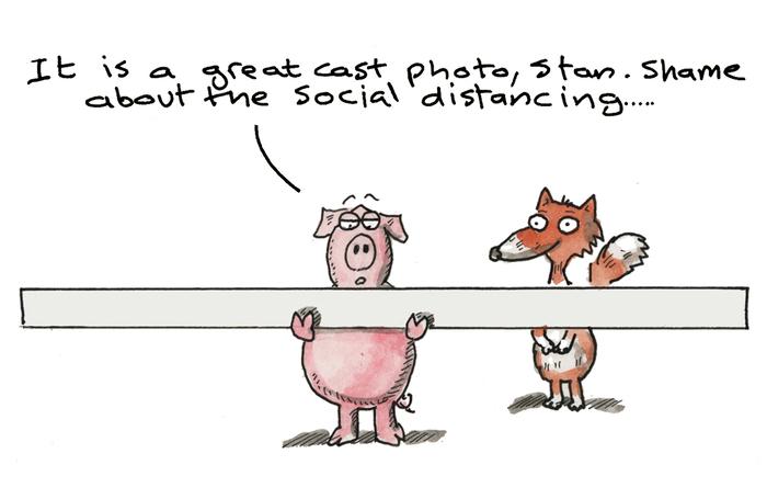 Hamlet social distancing. Image: Harry Venning