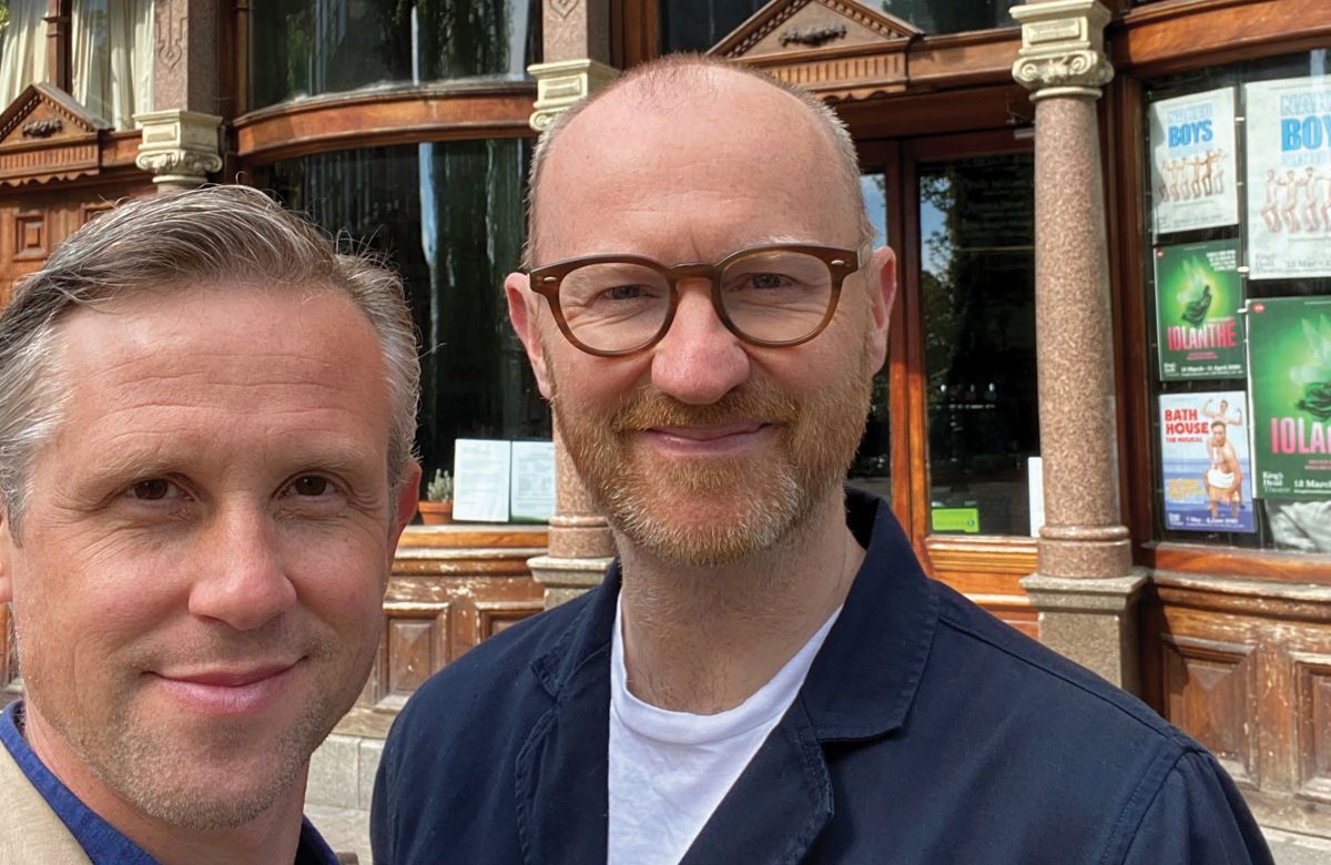 Ian Hallard and Mark Gatiss outside the King's Head Theatre, London