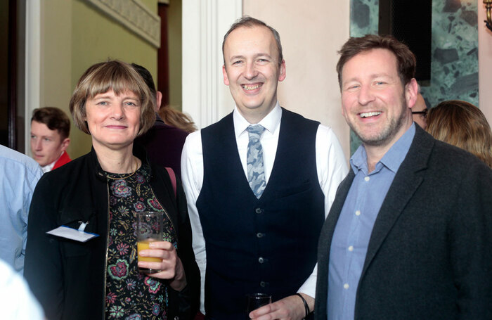 Julian Bird with National Theatre executive director Lisa Burger and former culture minister Ed Vaizey at The Stage Awards in 2018. Photo: Eliza Power