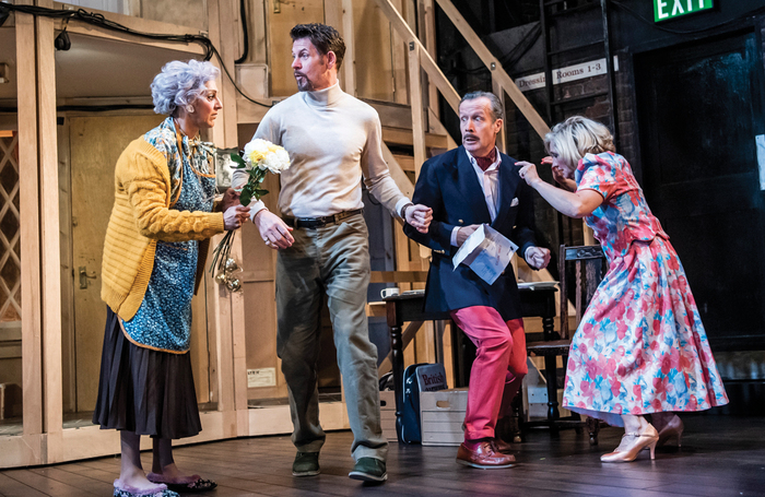 Meera Syal, Lloyd Owen, Jonathan Cullen and Debra Gillett in the Lyric Hammersmith's 2019 production of Noises Off, a perennial favourite. Photo: Tristram Kenton