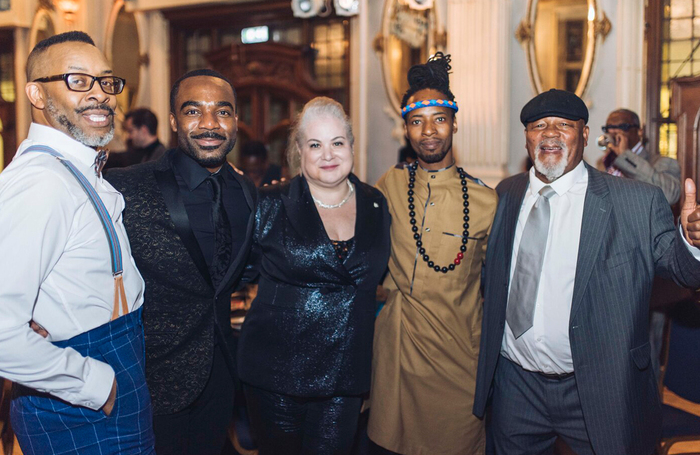 Omar F Okai, Ore Oduba, Solange Urdang, Mbulele Ndabeni and Namron at 2019 Black British Theatre Awards. Photo: Michelle Marshall