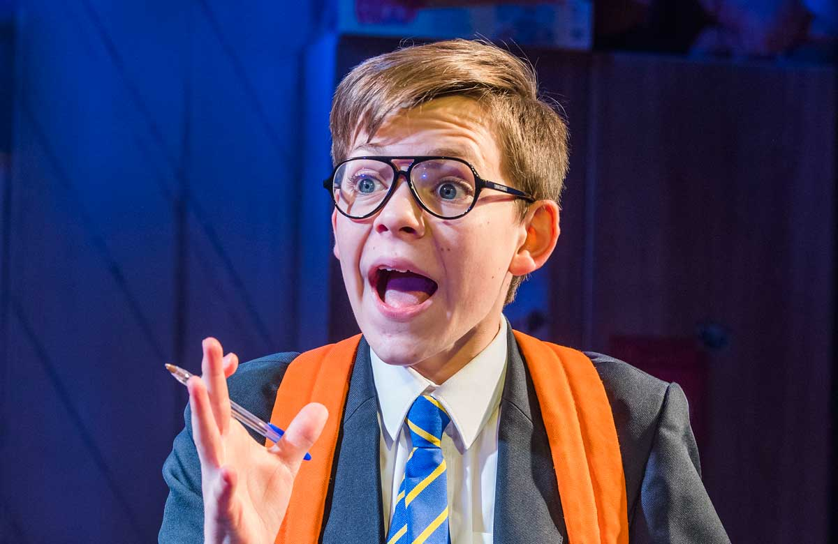 Benjamin Lewis in The Secret Diary of Adrian Mole Aged 13 ¾ at the Menier Chocolate Factory in 2017. Photo: Tristram Kenton