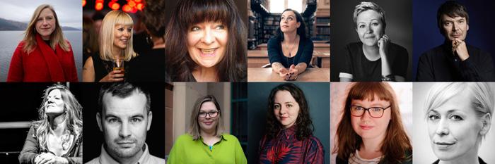 Writers (top row): Frances Poet; Morna Pearson; Janey Godley; Jenni Fagan; Stef Smith; Ian Rankin. Directors (bottom row): Louise Shephard; Cameron Mowat; Caitlin Skinner; Debbie Hannan; Katherine Nesbitt; Cora Bissett