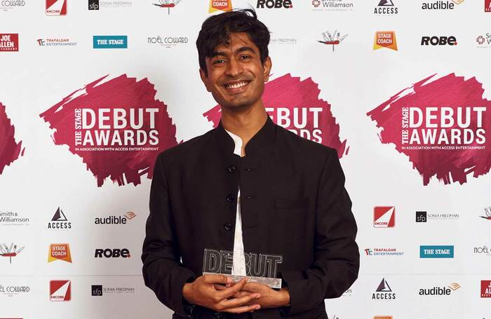 Atri Banerjee winning the best director award at The Stage Debut Awards in 2019. Photo: Alex Brenner