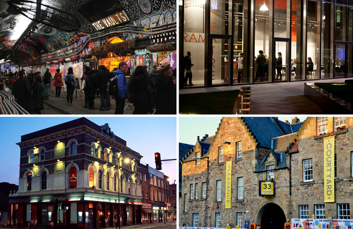 Clockwise from top left: the Vaults in London, New Diorama in London, the Pleasance in Edinburgh, Theatre503 in London. Photo: Shutterstock