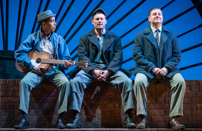 Linford Johnson, Bill Ward and Kai Owen in The Glee Club, which has had the remainder of its UK tour cancelled. Photo: Marc Brenner