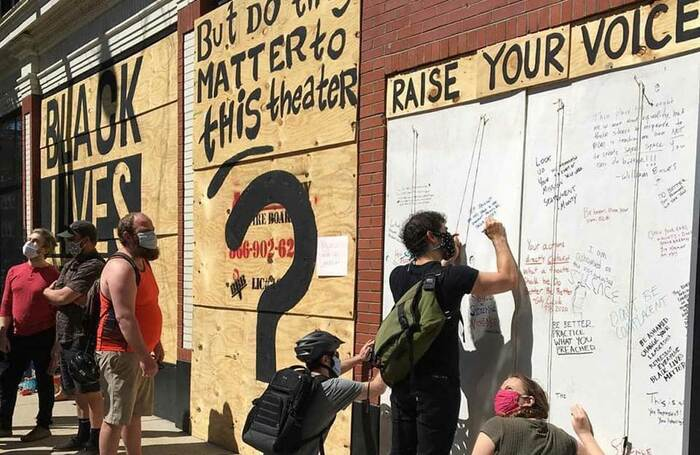 Protests at Victory Gardens Theater in Chicago