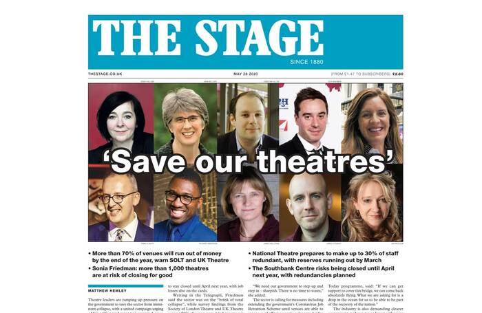 The Stage front page of May 28, 2020