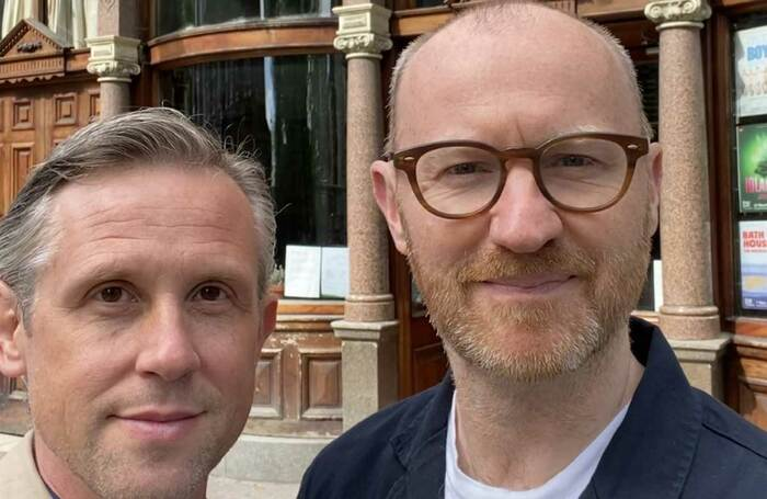 Ian Hallard and Mark Gatiss outside the King's Head Theatre in Islington