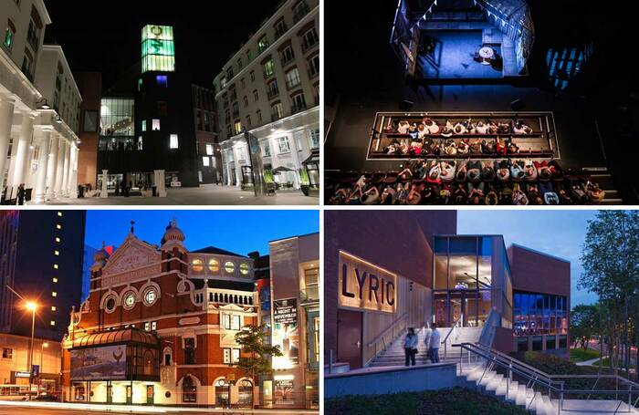 Venues in Northern Ireland, clockwise from top left: exterior view of the Mac, inside the Mac, Lyric Theatre, Belfast Grand Opera House