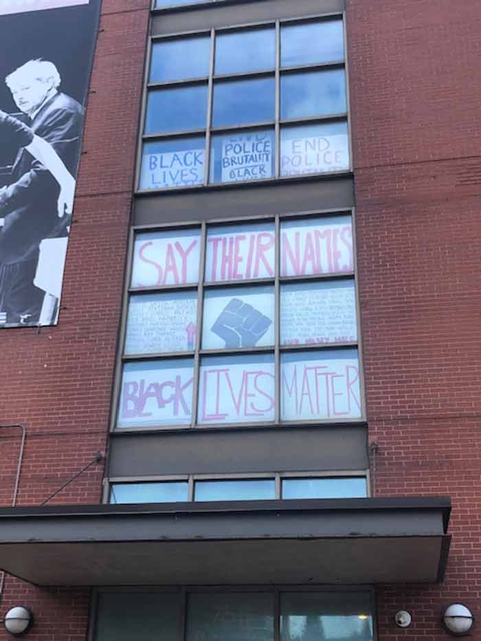 Black Lives Matter posters at Steppenwolf Theatre's 758 W North Avenue building. Photo: Steppenwolf Theatre