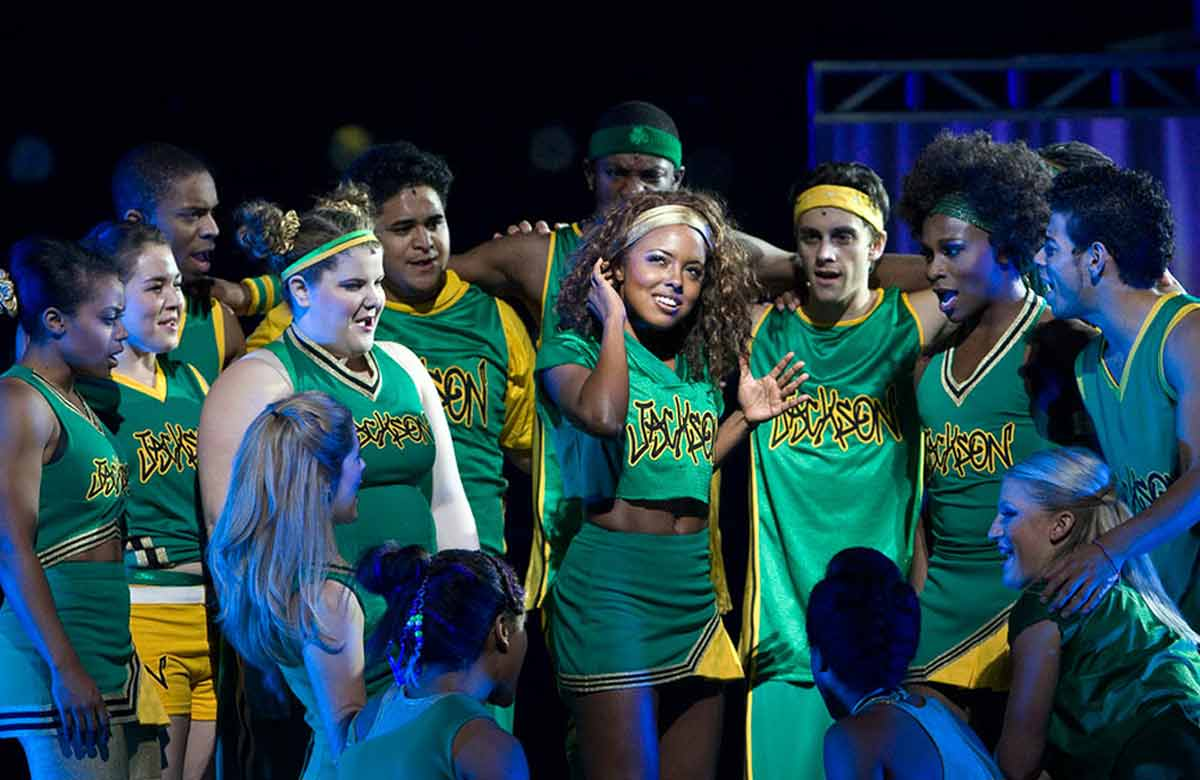 Adrienne Warren (centre) in Bring It On at Broadway's St James Theatre in 2012. Photo: Joan Marcus