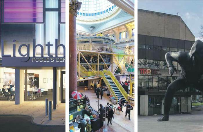 Left to right: Lighthouse in Poole, the Royal Exchange in Manchester and Theatre Royal Plymouth