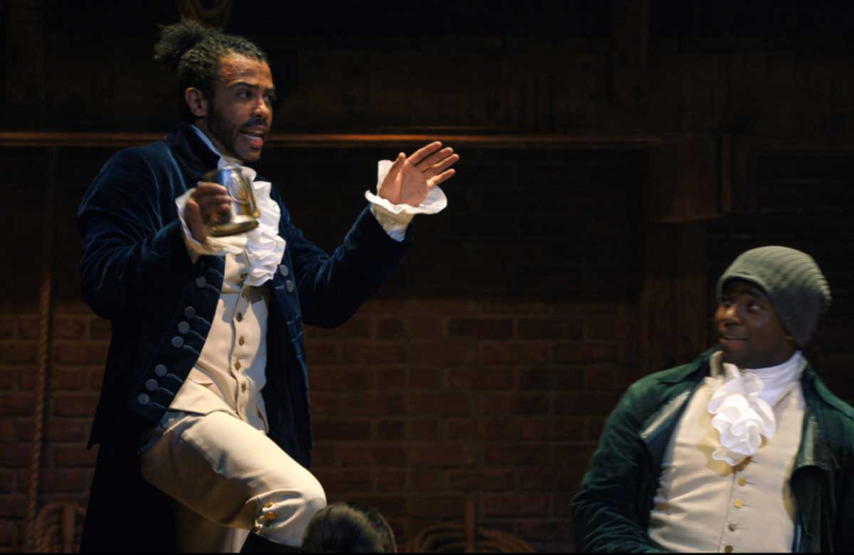 Daveed Diggs and Okieriete Onaodowan in Hamilton. Photo: Nevis Productions/Disney Plus