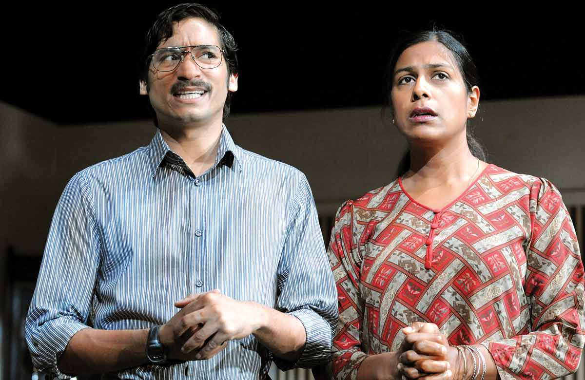Raj Ghatak and Lolita Chakrabarti in Free Outgoing, which opened at the Royal Court on July 7, 2008