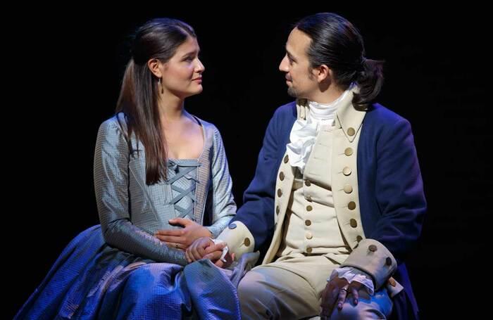 Phillipa Soo and Lin-Manuel Miranda in the Broadway production of Hamilton. Photo: Joan Marcus