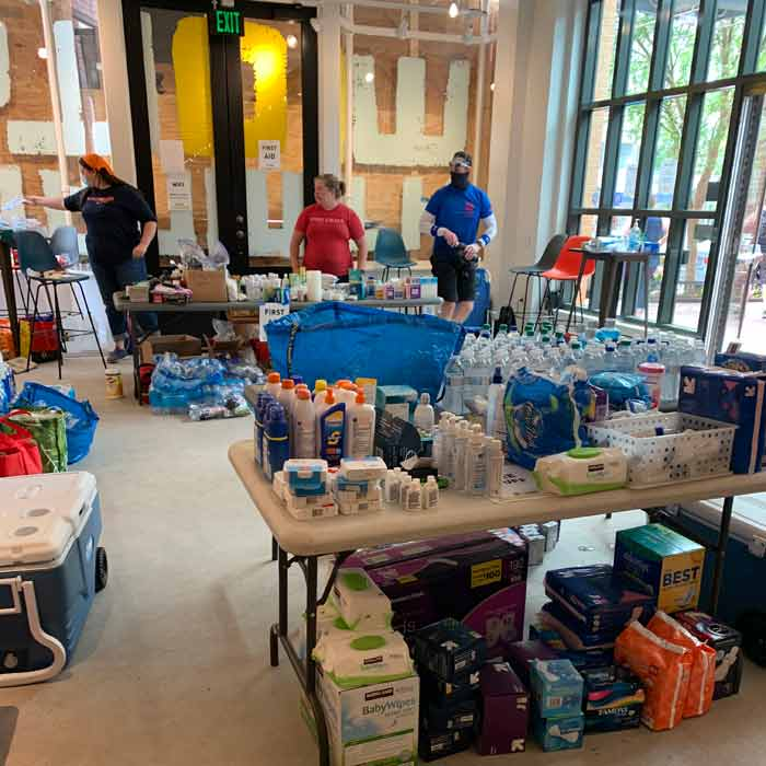 The lobby of Washington DC's Woolly Mammoth Theatre, where protesters can stock up on free supplies