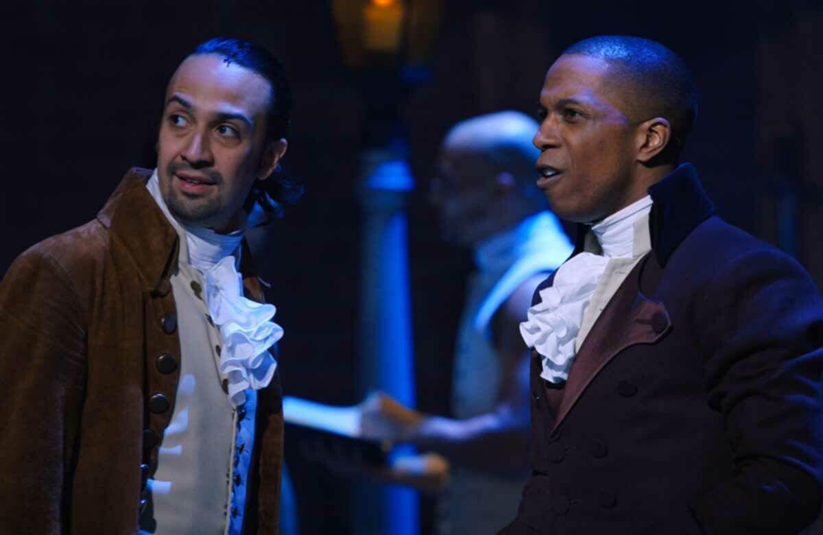Lin-Manuel Miranda and Leslie Odom Jr in Hamilton. Photo: Nevis Productions/Disney Plus