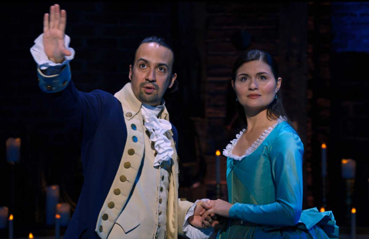 Lin-Manuel Miranda and Phillipa Soo in Hamilton. Photo: Nevis Productions/Disney Plus