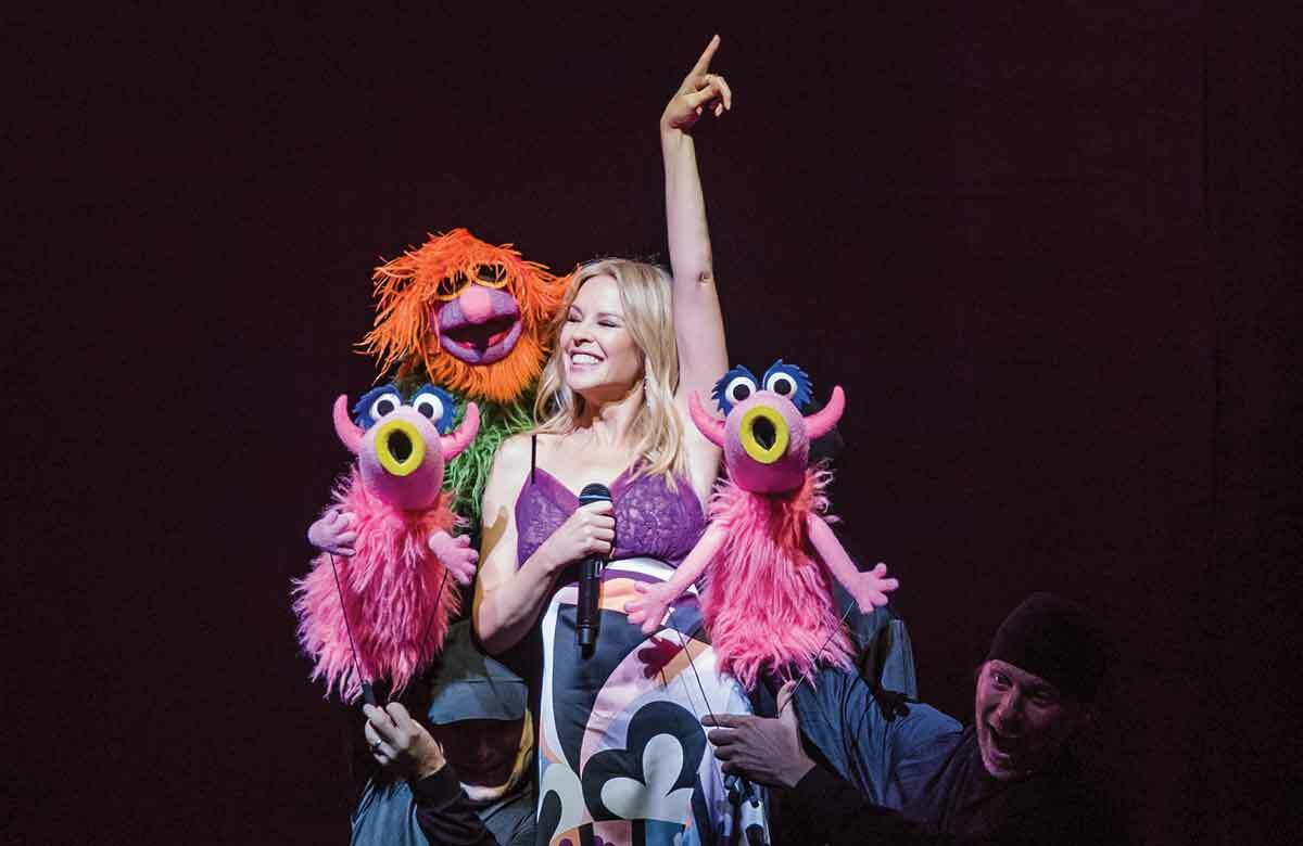 Kylie Minogue and cast in Muppets Take the O2, which opened on July 13, 2018, at the O2