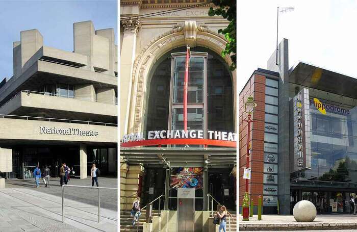 The National Theatre, Manchester's Royal Exchange and Birmingham Hippodrome have all announced redundancies. Photos: Shutterstock/Catherine Gerbrands/Stewart Helmley