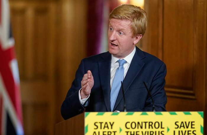 Oliver Dowden at a coronavirus briefing in May. Photo: Andrew Parsons/No 10 Downing St
