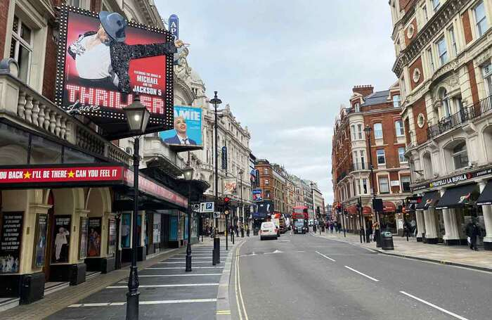Londons West End, where theatres remain closed. Photo: Alistair Smith