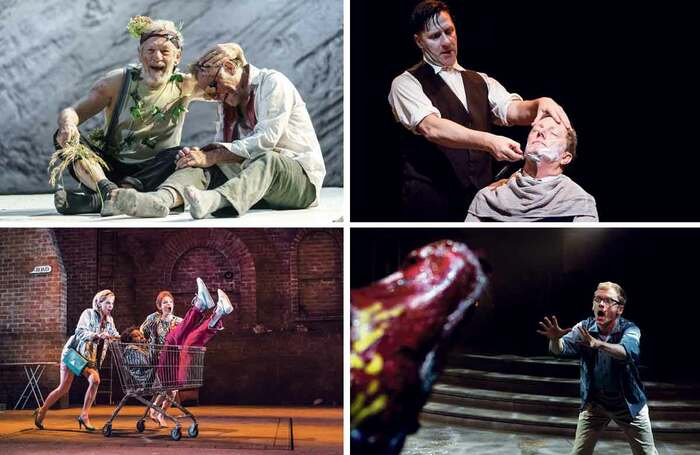 Clockwise from top left: King Lear at Chichester Festival Theatre in 2017; Sweeney Todd at Manchester's Royal Exchange in 2013; Little Shop of Horrors at the Royal Exchange in 2015; Road at London's Royal Court in 2017. Photos: Manuel Harlan, Jonathan Keenan, Tristram Kenton