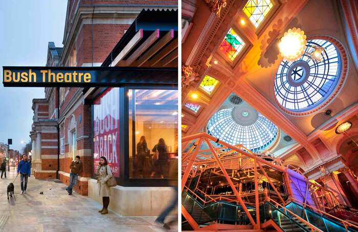 London's Bush Theatre (left) and Manchester's Royal Exchange (right) are two of the theatres to benefit from the donation. Photo: Philip Vile