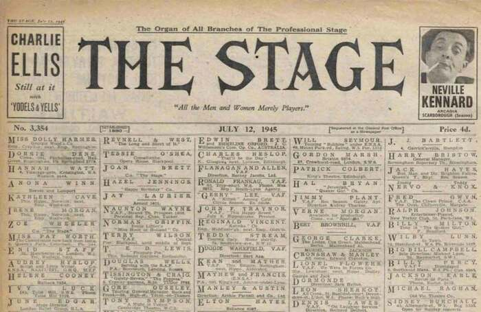 Front page of The Stage 75 years ago