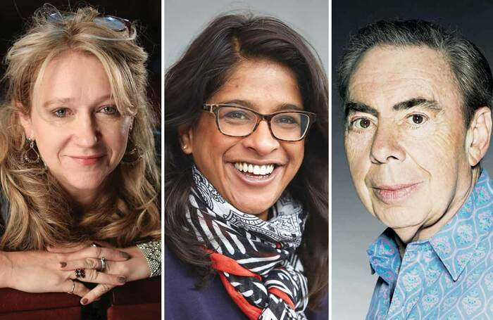 Sonia Friedman, Indhu Rubasungham and Andrew Lloyd Webber. Photos: Jason Alden/Mark Douet/John Swannell