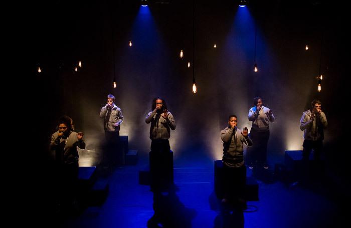 The cast of Beatbox Academy's Frankenstein at Battersea Arts Centre, London in 2018. Photo: Joyce Nicholls
