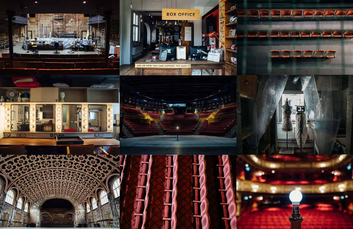 Top row: London's Almeida, London's Bush Theatre, Liverpool Everyman. Middle row: London's Royal Court, Leeds Playhouse, London's Young Vic. Bottom row: Battersea Arts Centre, London's Criterion and Lyric Hammersmith. Photos: Helen Murray