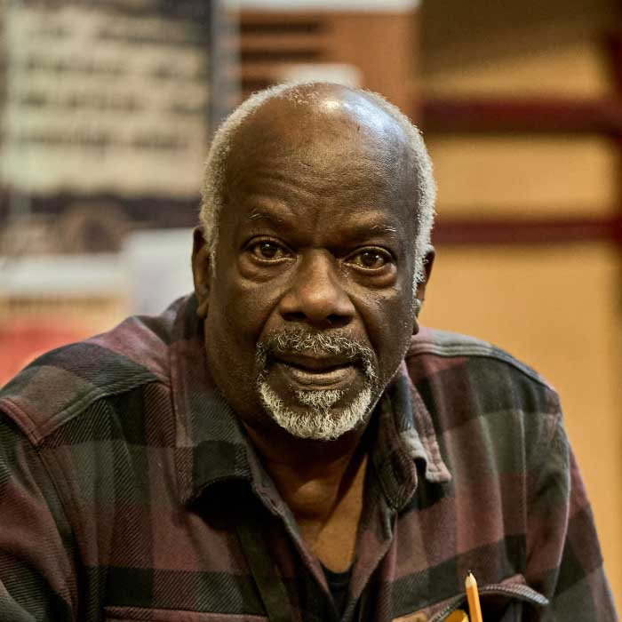 Joseph Marcell in rehearsals for Alone in Berlin at Northampton's Royal and Derngate. Photo: Manuel Harlan