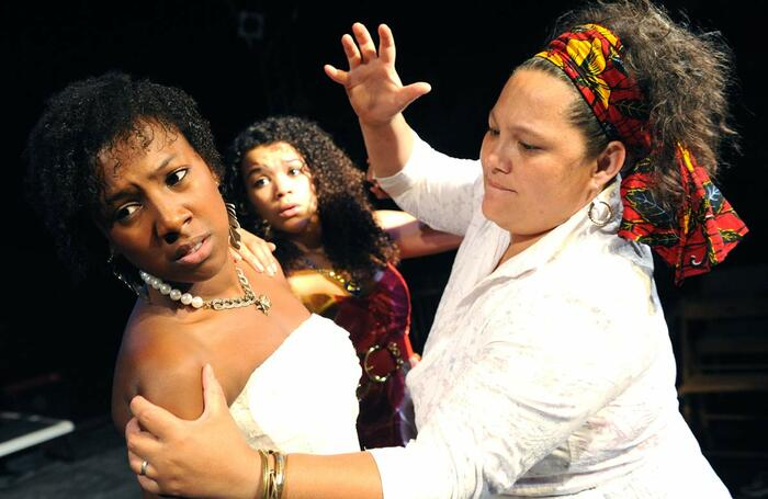Jade Anouka, Amanda Posener and Naomi Wirthner in Blood Wedding, which opened at Southwark Playhouse, London on July 21, 2009