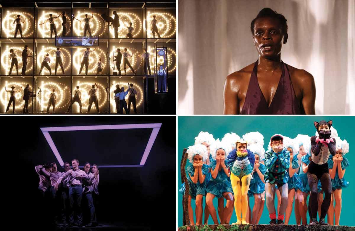 Top row: Einstein on the Beach, Okwui Okpokwasili in Bronx Gothic. Bottom row: Balletboyz, Royal Ballet in Peter and the Woolf. Photos: Helen Murray/Lawrence K Ho/Tristram Kenton