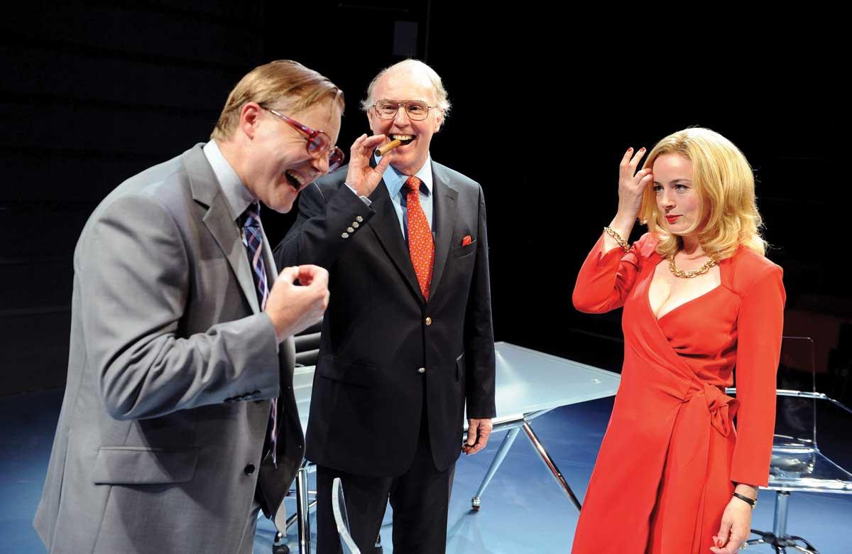 Samuel West, Tim Pigott-Smith and Amanda Drew in Enron. Photo: Tristram Kenton