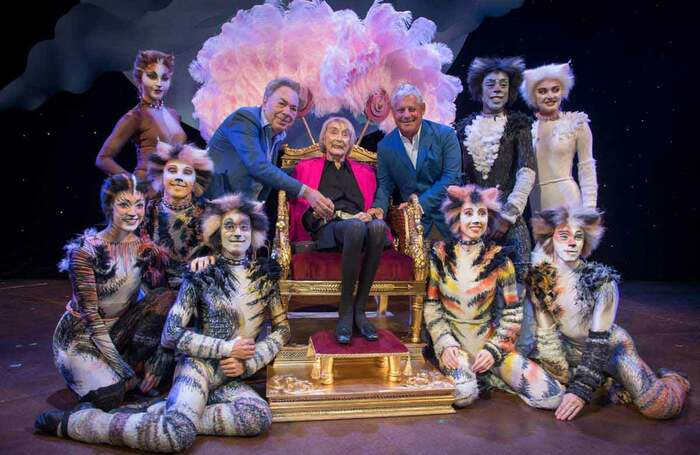 Gillian Lynne with Andrew Lloyd Webber, Cameron Mackintosh and the cast of Cats at the renaming of the Gillian Lynne Theatre in 2018. Photo: Craig Sugden