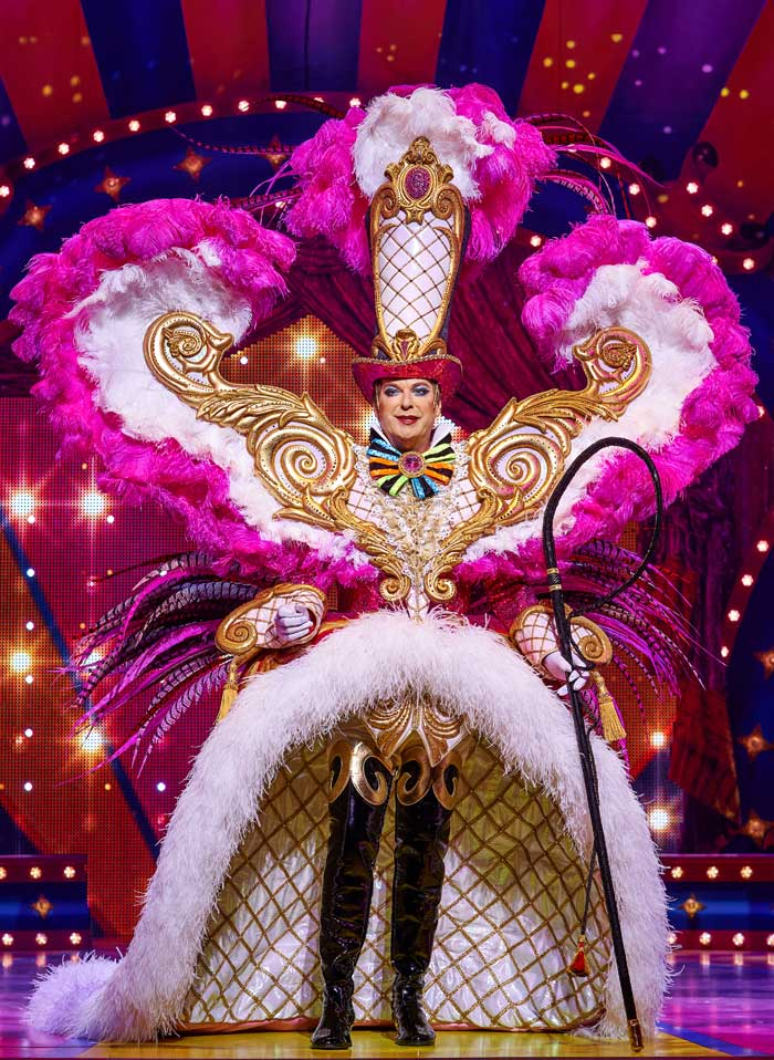 Julian Clary wearing a costume designed by Hugh Durrant in Goldilocks and the Three Bears at the London Palladium in 2019. Photo: Paul Coltas