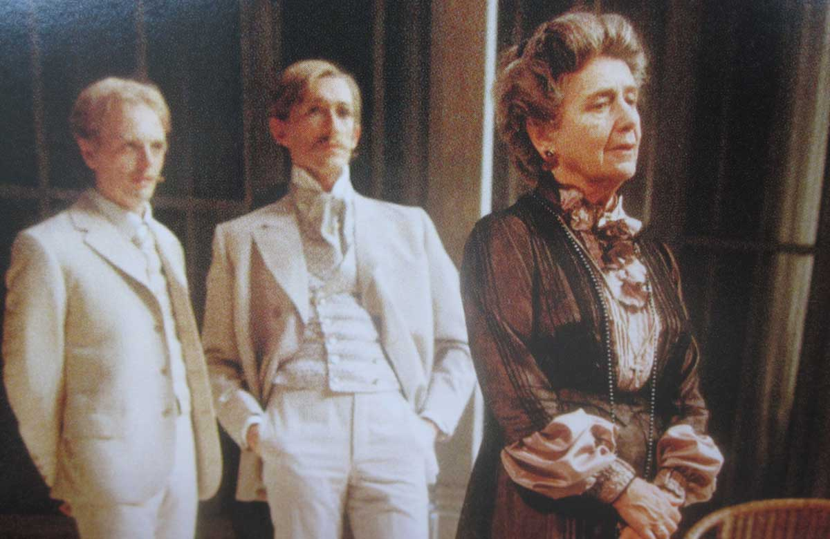 Peter Land (centre) in the Royal Shakespeare Company's 1982 production of All's Well That Ends Well